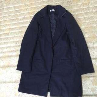 (售出)深藍色長版厚外套 大衣