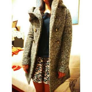 降!!(含運)東區購入灰色混織毛呢大衣