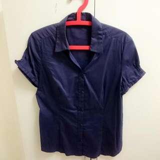 NET深藍色面試短袖襯衫-可換物