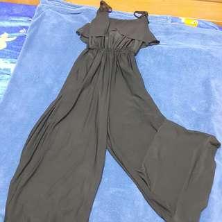 黑色連身褲裙