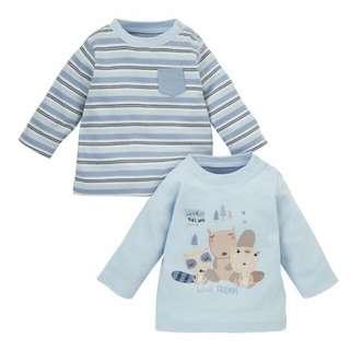 【現貨】英國童裝 全新專櫃mothercare 長袖T一組6-9m
