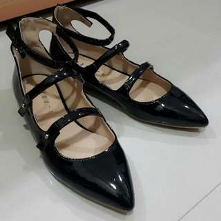 🚚 韓國 漆皮 法式甜美瑪麗珍平底鞋