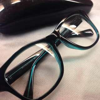 邊邊藍綠粗框眼鏡