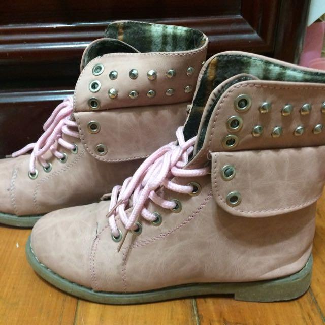 二手,粉紅短靴,24號