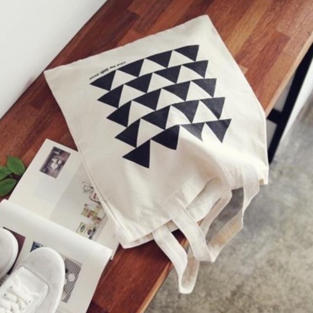 ♥快速出貨♥簡約三角幾何帆布包/帆布袋/購物袋