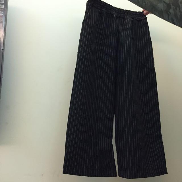 直條紋八分寬褲