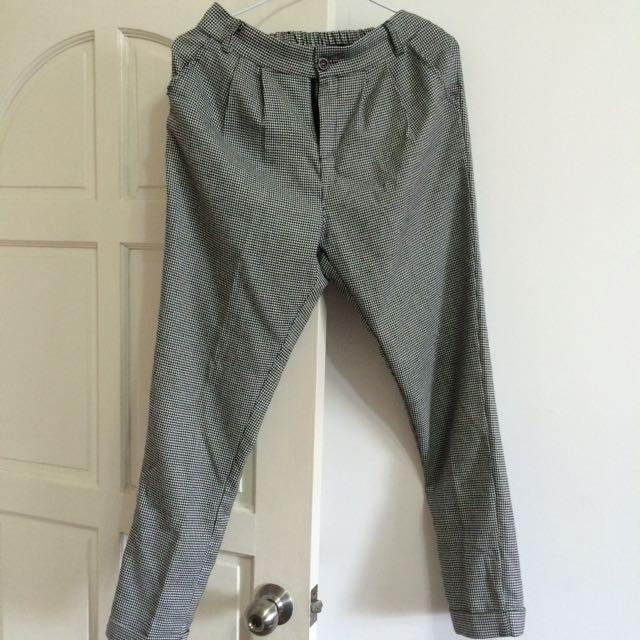 千鳥紋修身褲