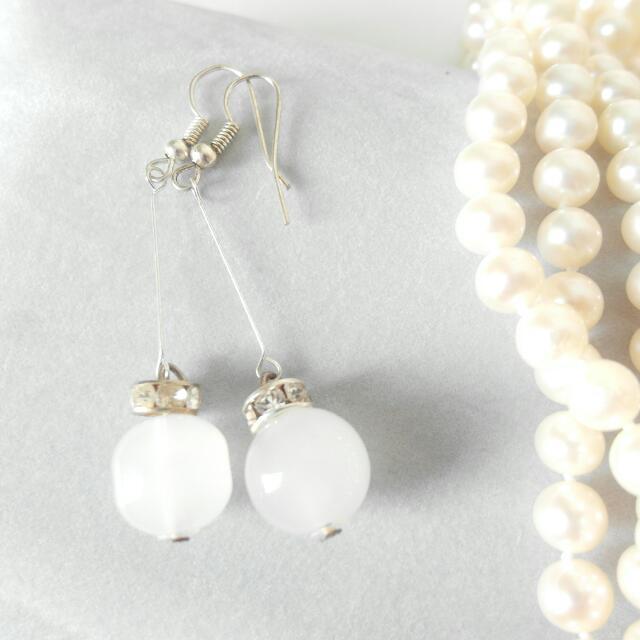 白珠氣質垂墜耳環