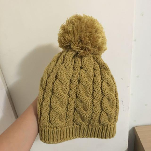 可愛芥末黃毛帽