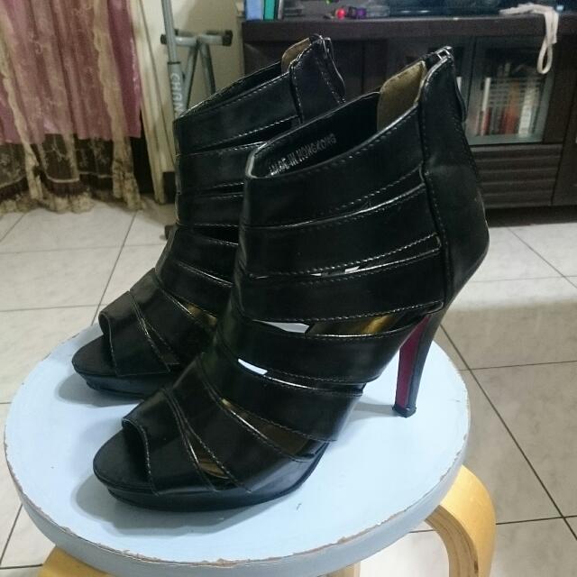 紅底黑色羅馬高跟鞋-可換物