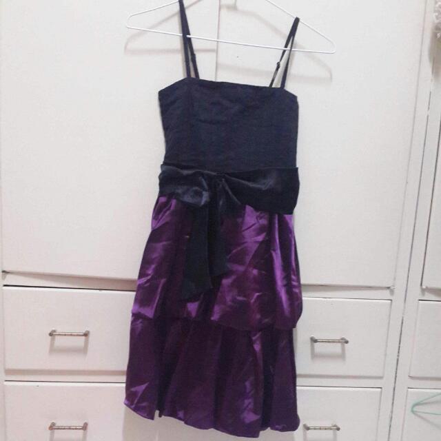 平口小禮服 肩帶可調 紫色 降
