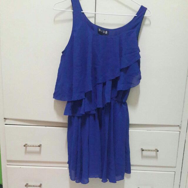 收腰藍色小洋裝 垂墜度佳
