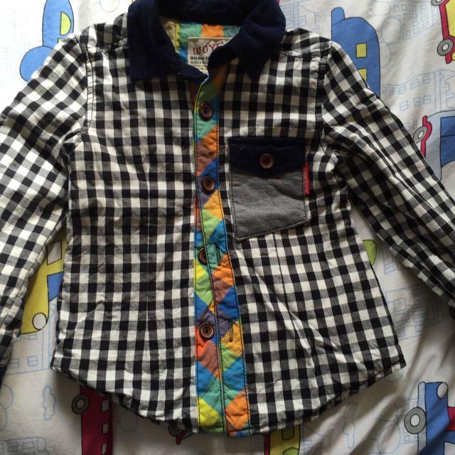 格子襯衫 (雙層) 約90能穿