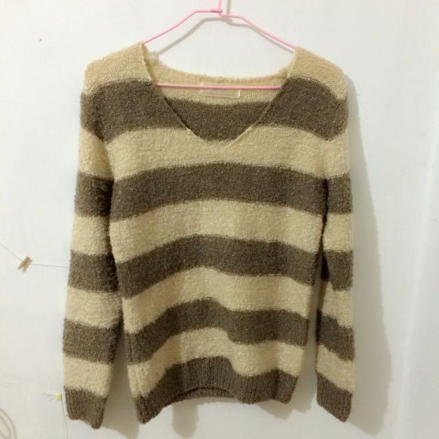 條紋 針織 毛衣