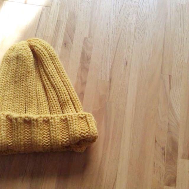 土黃針織帽 土黃毛帽 毛帽 針織帽