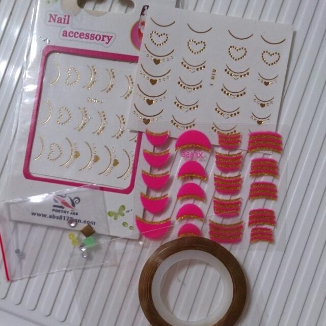 指甲彩繪 貼紙 塑膠鑽 金蔥線 一起賣