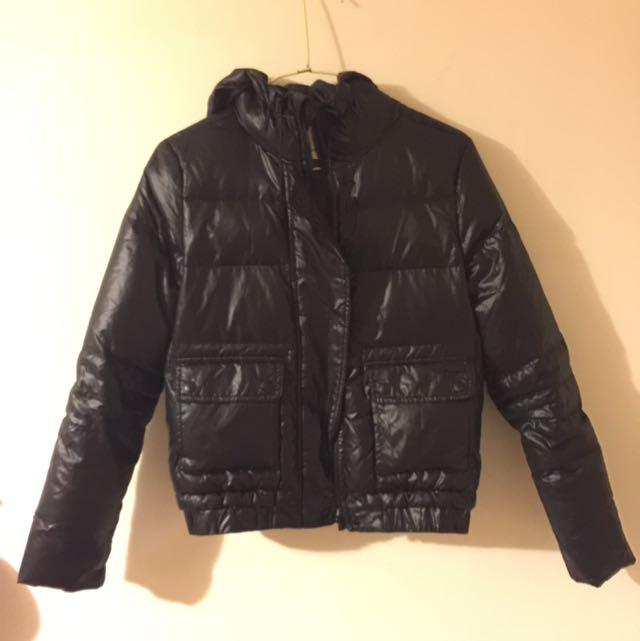 韓國購入 超保暖 帥氣 輕 防水防風 短版 黑色羽絨外套
