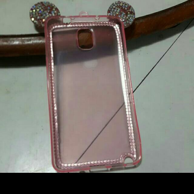 三星 Note 3 Note3 米奇貼鑽水晶手機殼 鑲鑽 粉紅 Notelll 超亮