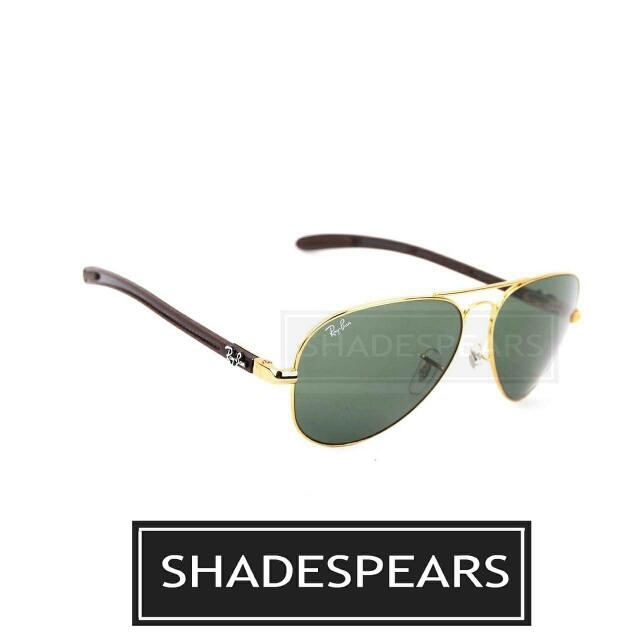 170bd21f40 RayBan RayBan Aviator Tech Carbon Fibre Model Code: RB8307 001 Size: 58mm x  14mm Frame: Gold Lens: Green G-15 . . Contact Person : +6012 796 8069 .
