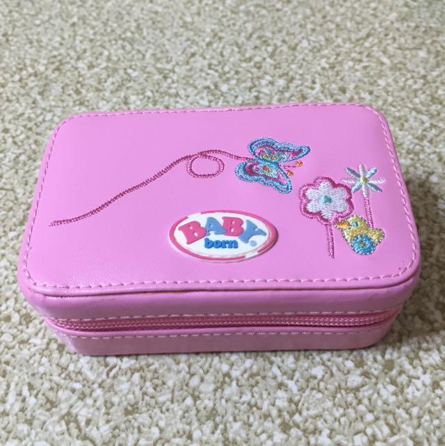 Baby刺繡粉紅收納小盒