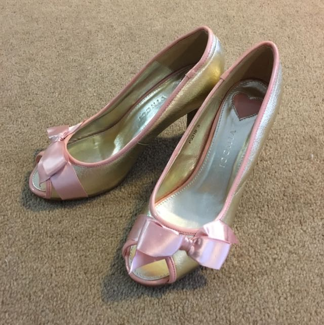 Cute Gold And Pink Peep Toes