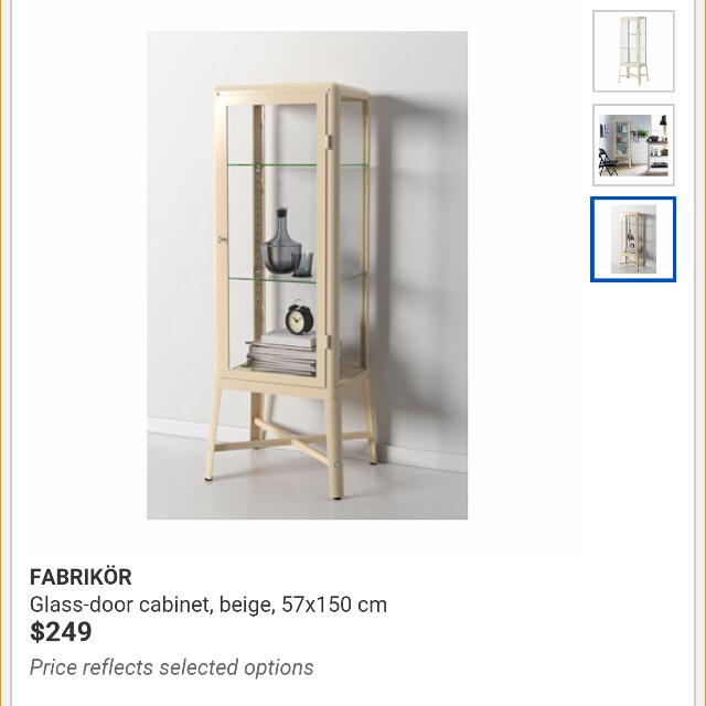 Reserved Fabrikor Ikea Glass Display Cabinet Beige Vintage Retro