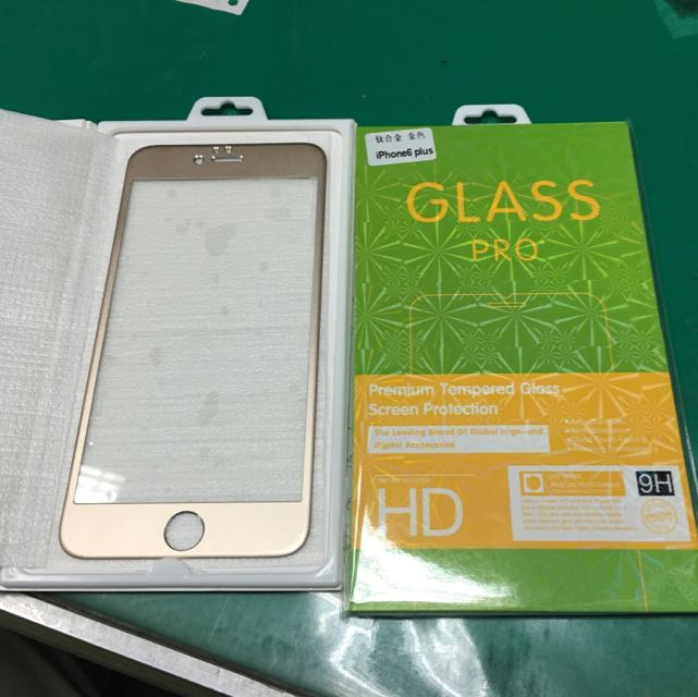 (全新)I Phone 6s Plus.  GLASS PRO+ 鋼化保護貼 金色