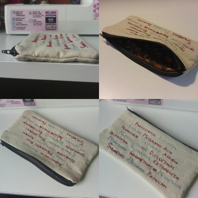 Hand-embroidered Pain-cil Case
