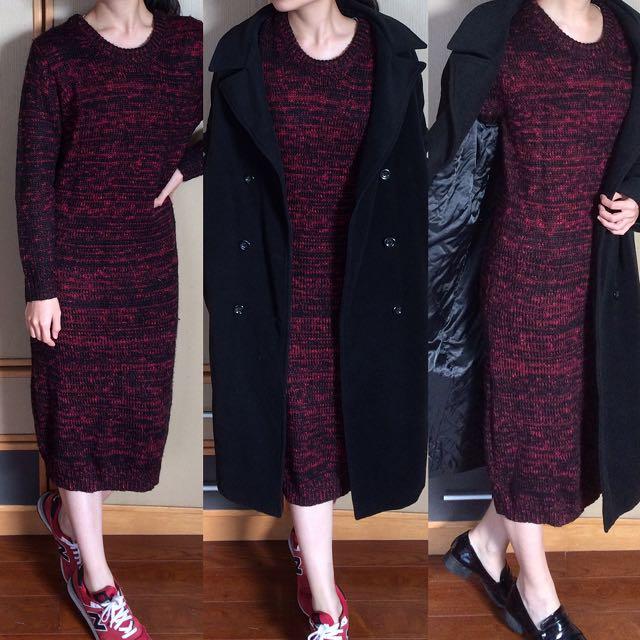PAZZO副牌FE'CHA紅黑混色長版針織洋裝