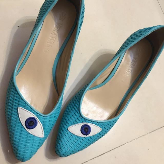 Vera Wang 皮底皮面 湖水藍色編織鞋 37號