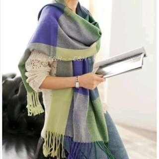 綠紫藍三色格子圍巾✅
