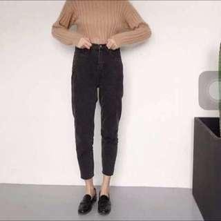 高腰灰黑色寬鬆牛仔褲