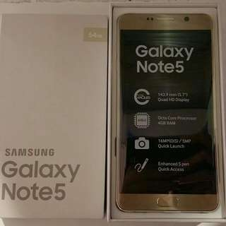 Brand New Samsung Galaxy Note 5 Gold 64GB