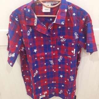 💜現貨💜Major Made 星星字母全刺繡格紋短袖襯衫 藍色