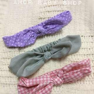 Amor baby shop 獨家限量 三款一組 蝴蝶結 棉麻 嬰兒髮帶 兒童髮帶組