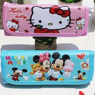 Amor baby shop 特價出清~迪士尼& Hello kitty 折疊 筆袋 鉛筆盒 適合兒童生日禮物