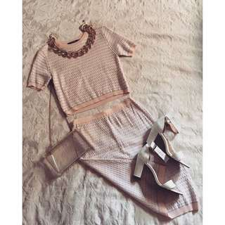 Co-Ord Knit Top & Skirt Set
