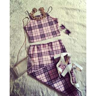Co-ord Checkered Top & Skirt Set
