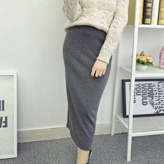 開衩灰窄裙 針織長裙 包臀裙