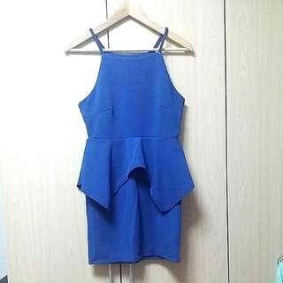 [BN] Cobalt Blue Peplum Dress
