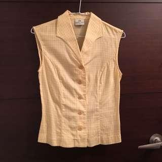 古著 黃色格子無袖襯衫