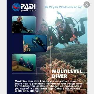 PADI MULTILEVEL SPECIALTY DIVER COURSE 2 DAYS 2 NIGHTS AT TIOMAN ISLAND