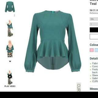 SOLD Poplook Curve Nicky Soft Peplum Blouse
