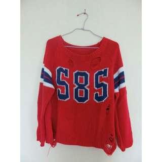 紅色數字毛衣(含運)