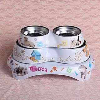 A~寵物不銹鋼雙碗防滑碗