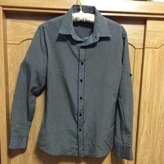 黑白直條紋長袖襯衫