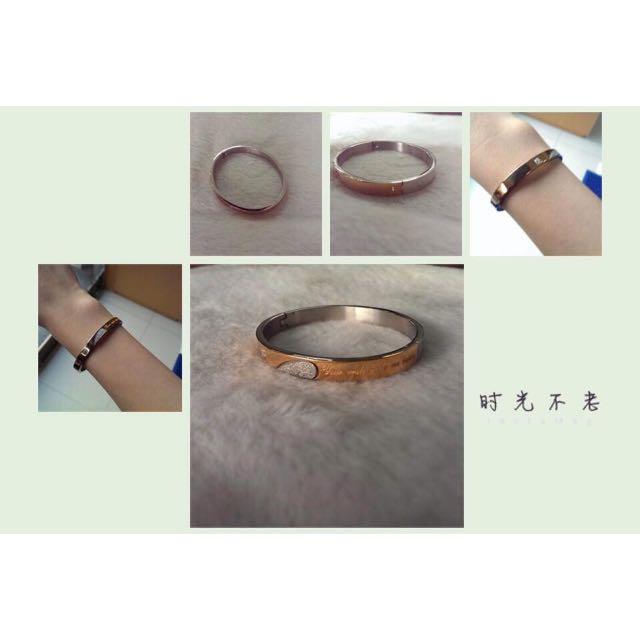 全新玫瑰金鋼製手環