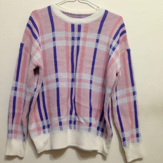 韓製格子針織毛衣