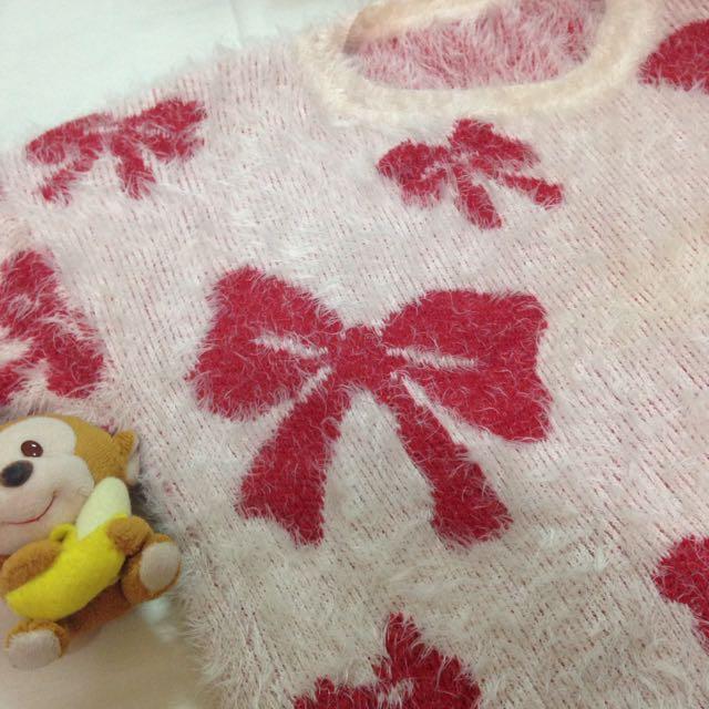 🎀紅蝴蝶結保暖毛衣💞