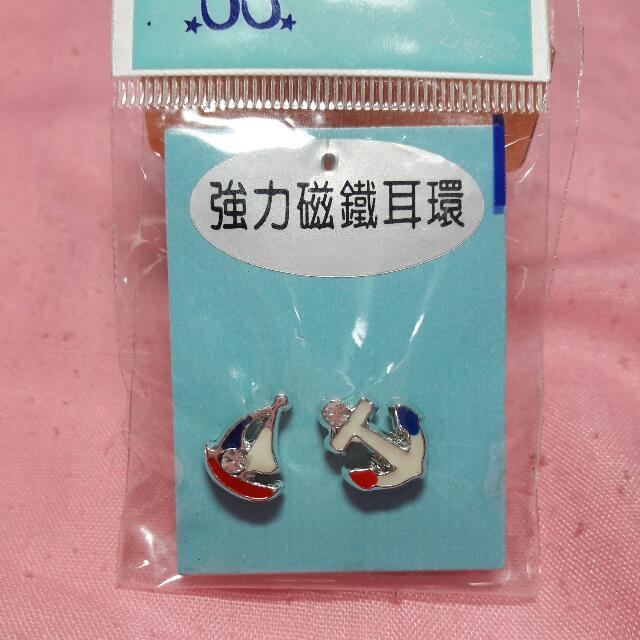 【全新】強力磁鐵耳環 粉色海豚 / 帆船 船錨